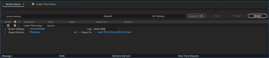 After Effect's Render Queue to export a still frame