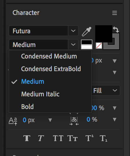 Set the font family in After Effects to change font to bold, italics, etc.