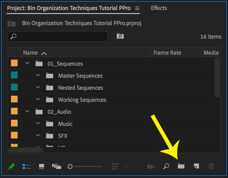 Project Panel in Premiere Pro with arrow pointing to New Bin icon