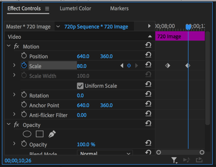 Effect Controls panel with Scale property keyframed
