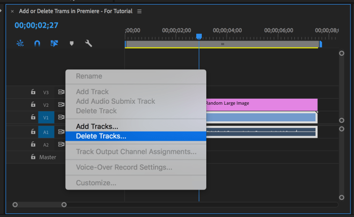 Menu with Delete Tracks... highlighted that appears in Premiere Pro after right-clicking blank area of timeline