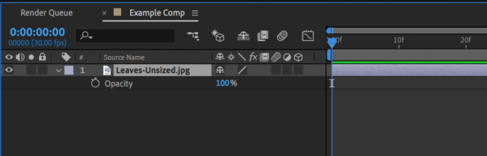 Layer in after effects with Opacity property in order to change transparency in After Effects