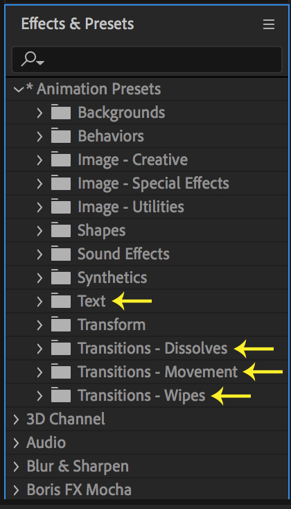 Effects & Presets Panel in After Effects