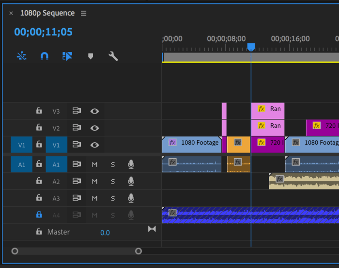 Timeline panel in Premiere Pro with a clip insert edited into it
