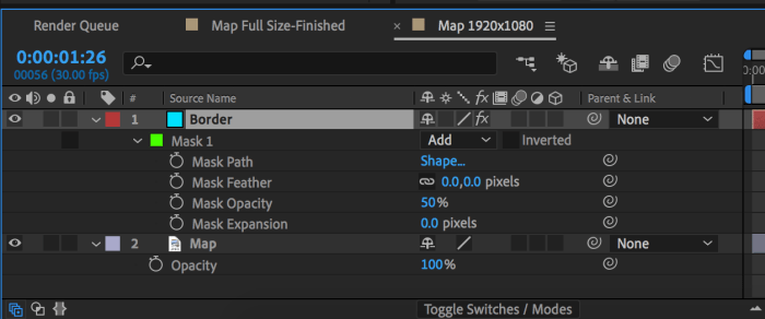 Mask properties on solid layer that will be the map highlight