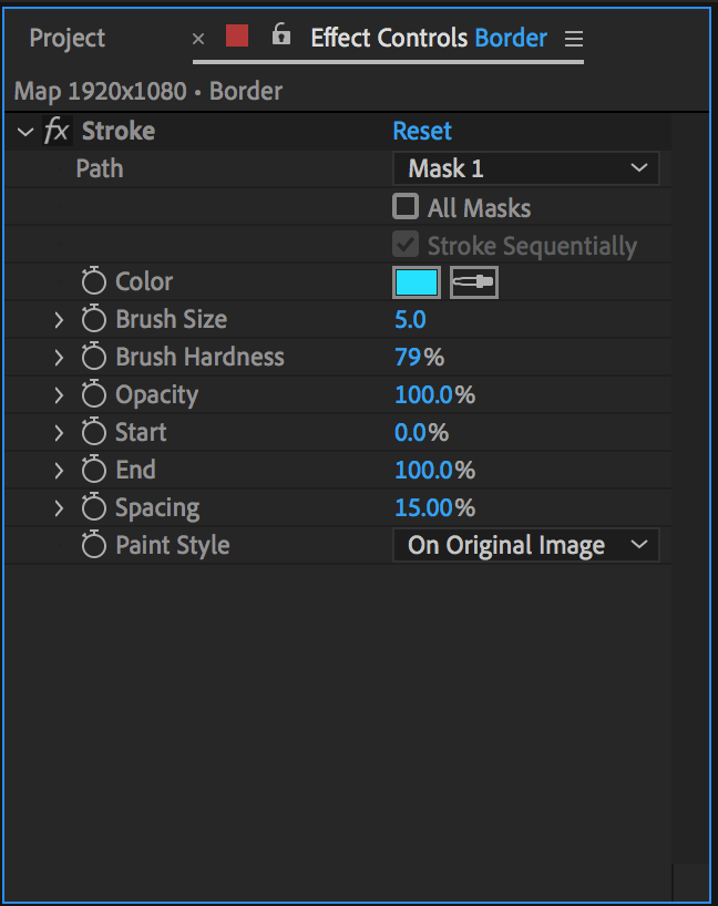 Stroke effect properties for the map highlight in After Effects