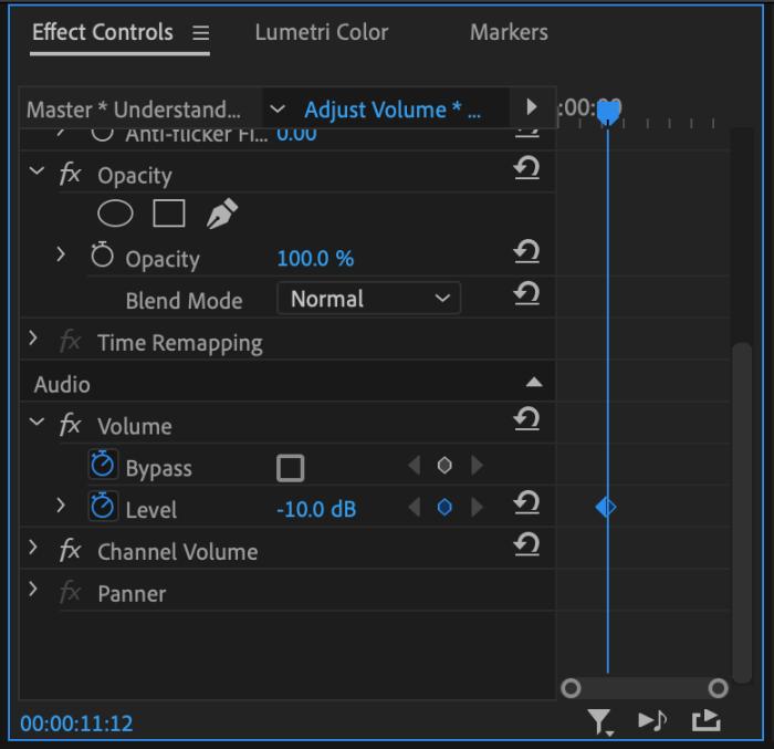 Premiere Pro CC Effect Controls Panel to change Volume