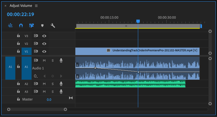 Clip in Premiere Pro CC Timeline with Audio Level line to change it's volume