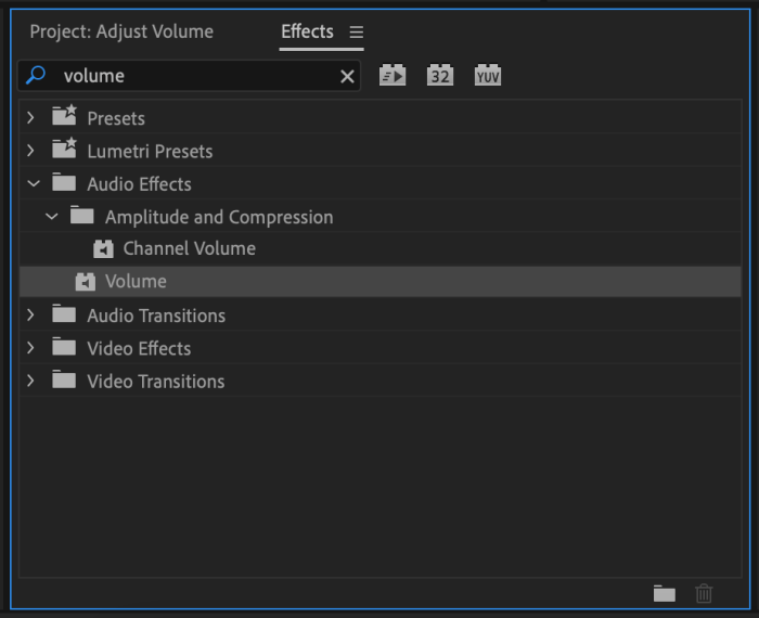 Volume Effect selected in Premiere Pro CC Effects Panel