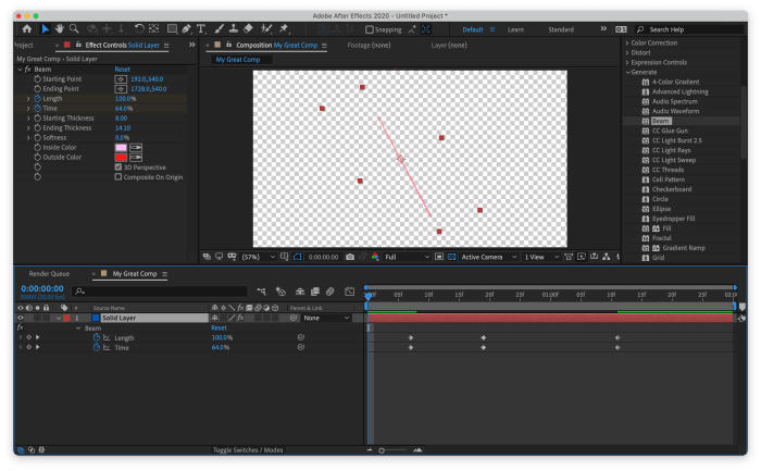 After Effects with layer showing keyframe so it can be edited
