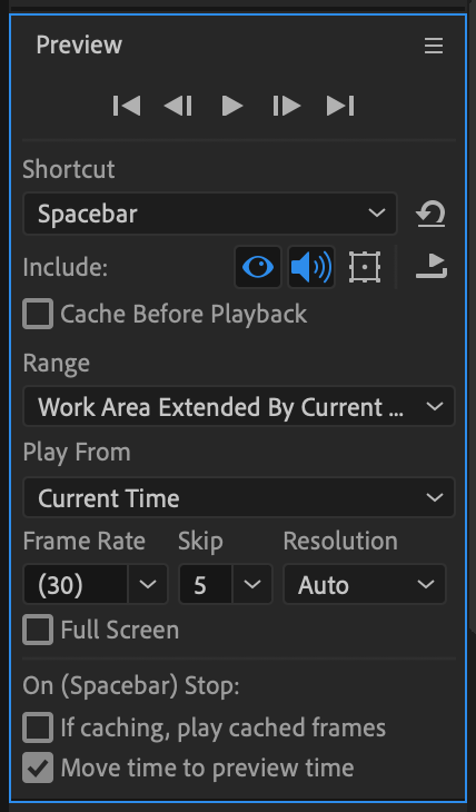 After Effects Preview Panel with looping turned off to stop playing at end of composition