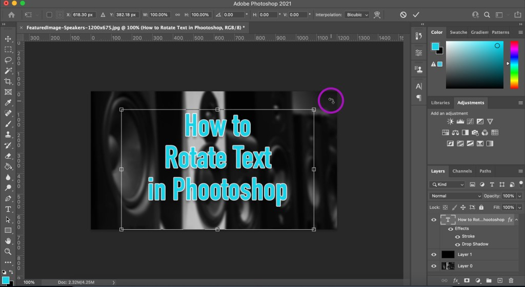 Free Transform tool in Photoshop showing rounded cursor which indicates you can rotate the layer