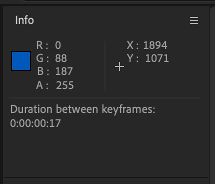 Info Panel in After Effects showing the duration between keyframes