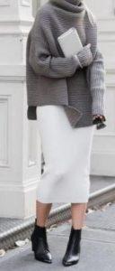 aspri midi fousta me oversized pullover