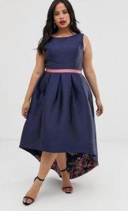 μπλε midi φόρεμα μεγάλο μέγεθος