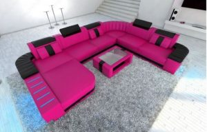 φούξια δερμάτινος καναπές