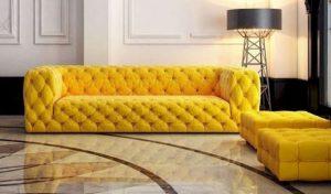 κίτρινος τριθέσιος καναπές