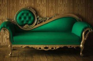 πράσινος εντυπωσιακός καναπές
