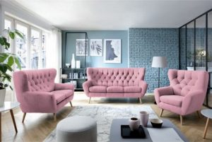 ροζ καπιτονέ καναπές