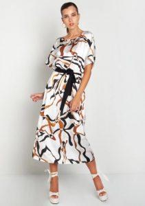 άσπρο midi φόρεμα