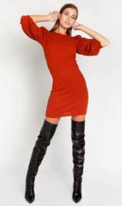 mini φόρεμα με φουσκωτά μανίκια