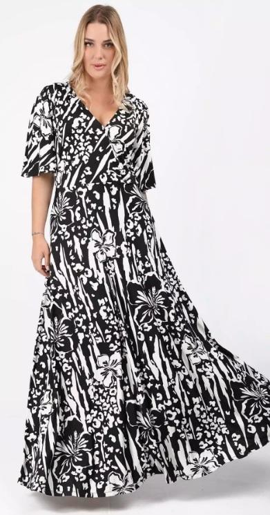 ασπρόμαυρο κρουαζέ καλοκαιρινό φόρεμα xxl