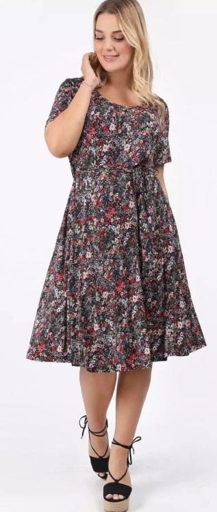 φλοράλ midi φόρεμα Α γραμμή