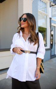 λεκυό πουκάμισο φορεμένο με ζώνη