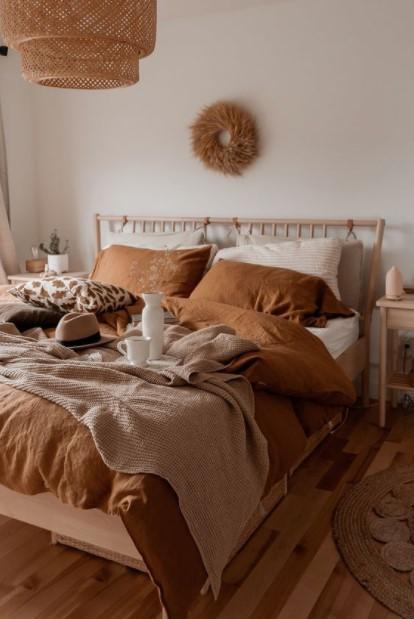 υπνοδωμάτιο καφέ τόνοι φθινοπωρινές χρωματικές παλέτες