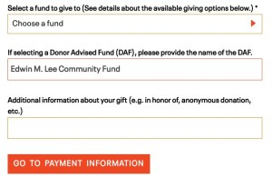 screenshot of the SFF donation page with example of how to fill out the page for donations to the Edwin M. Lee Community Fund
