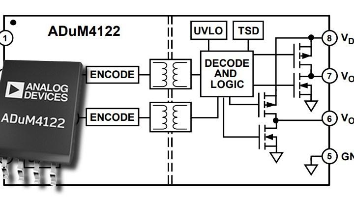 Il nuovo driver isolato ADuM4122 della Analog Devices offre un isolamento di 5 kV
