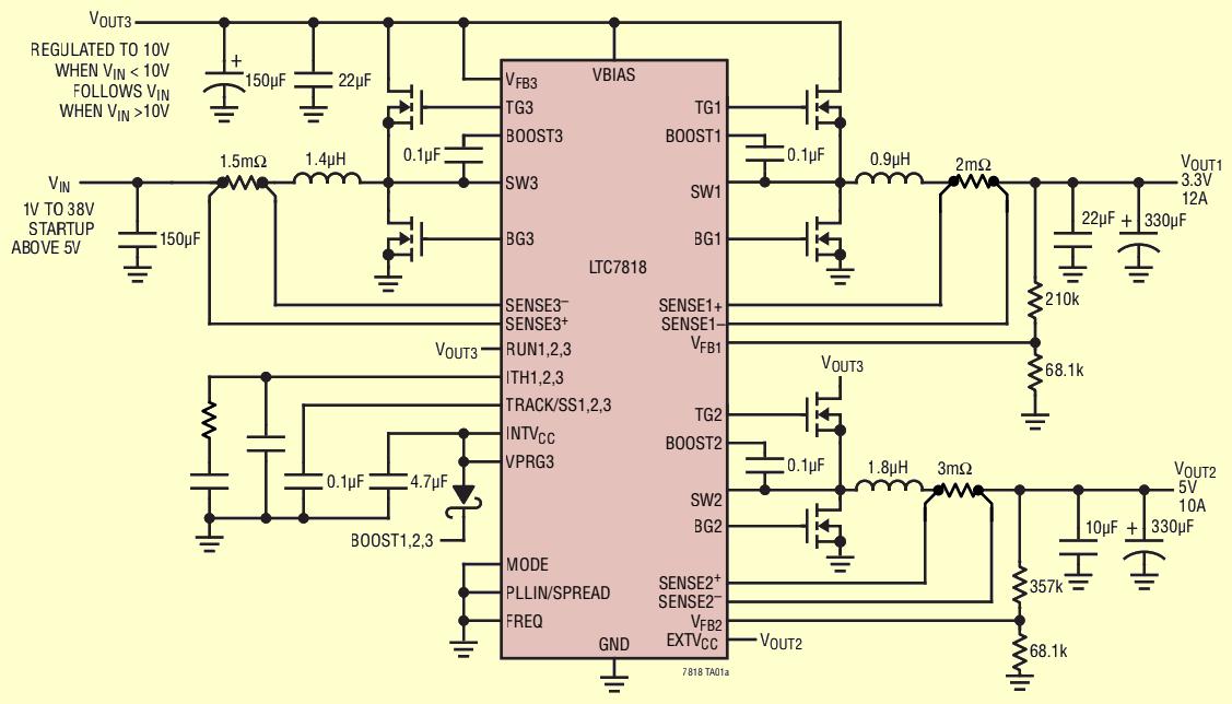 Analog Devices presenta l'LTC7818, un nuovo regolatore switching