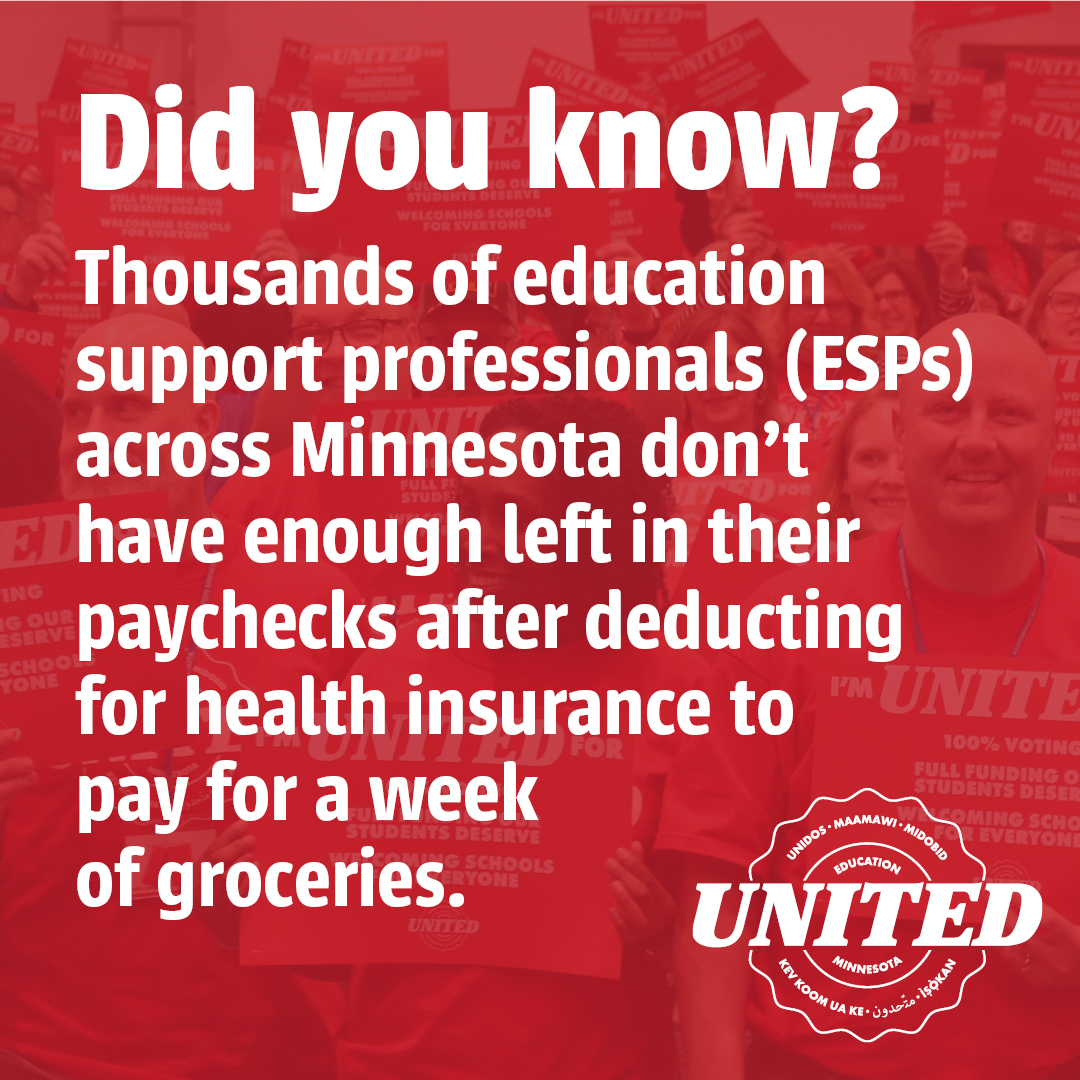 ESPs across MN often don't have enough left in their paychecks after deducting for benefits to pay for a week of groceries #edmnvotes