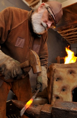Ed Friesen is the blacksmith at the annual Bethlehem walk which opens this week at West Edmonton Christian Assembly in Edmonton recreating Bethlehem 2,000 years ago. It runs from Dec. 8 to 12.
