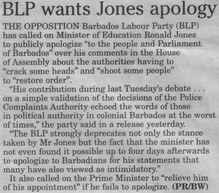 BLP wants Jones apology - 2013-06-16 Sunday Sun
