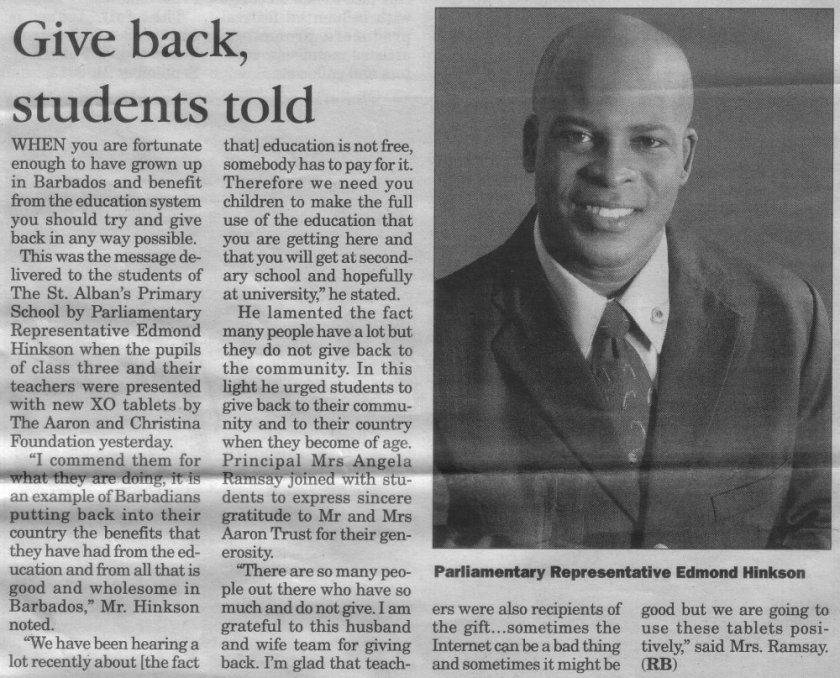 Give back, students told - 2013-09-21 - The Barbados Advocate