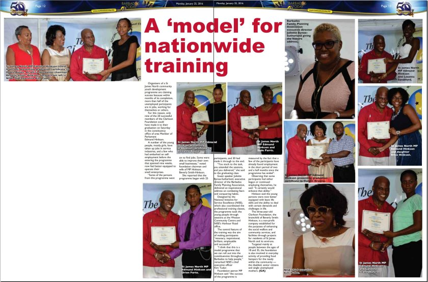A 'model' for nationwide training - 2016-01-25 - Barbados Today - Pages 12-13