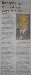 Integrity act still not law, says Hinkson - 2016-08-26 - Weekend Nation - Page 22