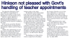 2017-06-12 – Barbados Today – Pages 4-5 – Hinkson not pleased with Govt's handling of teacher appointments