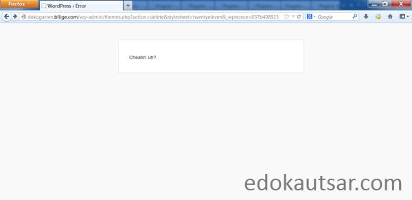 Wordpress cheatin' uh error