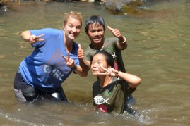 Michelle swimming with students