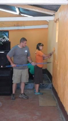 Me & Laura painting at church