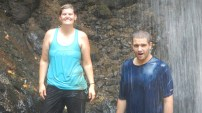 Erin and I under a waterfall