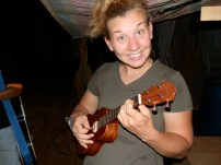 Laura on her Ukulele