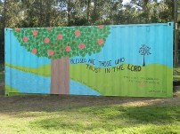 Beautiful Mural at the Human Dignity Center - Painted mostly by Laura