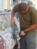 Grinding Bondo off Pastor's car