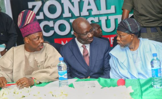 L-R: Ogun State Governor, Sen. Ibikunle Amosun; Governor Godwin Obaseki of Edo State, and their Osun State counterpart, Governor Rauf Aregbesola, during the APC Zonal Public Hearing on Federalism held in Benin City, Edo State, on Monday, September 18, 2017.