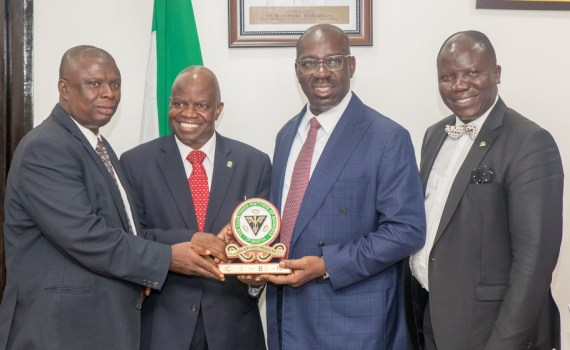 L-R: Chairman, Chartered Institute of Bankers of Nigeria (CIBN), Edo State Branch, Yakubu Sule; President/Chairman of Council, CIBN, Professor Segun Ajibola; Governor Godwin Obaseki of Edo State; and Registrar/Chief Executive, CIBN, Seye Awojobi, during a courtesy visit to the Governor at the Edo State Government House on Monday, September 18, 2017
