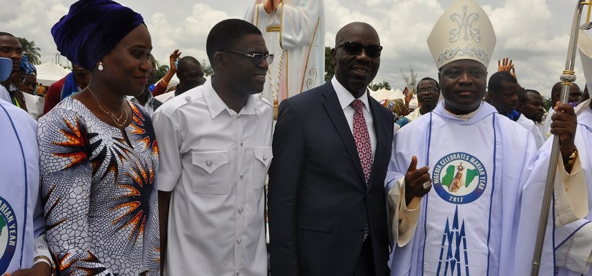 R-L: President, Catholic Bishops Conference of Nigeria (CBCN) and Archbishop of Jos, Most Reverend Ignatius Kaigama; Governor Godwin Obaseki of Edo State; Edo State Deputy Governor, Rt. Hon Philip Shiabu and his wife, Maryann, during the Grand Finale of the first ever National Marian Year declared in Nigeria, and 3rd Marian Congress, in Benin City, on Friday.