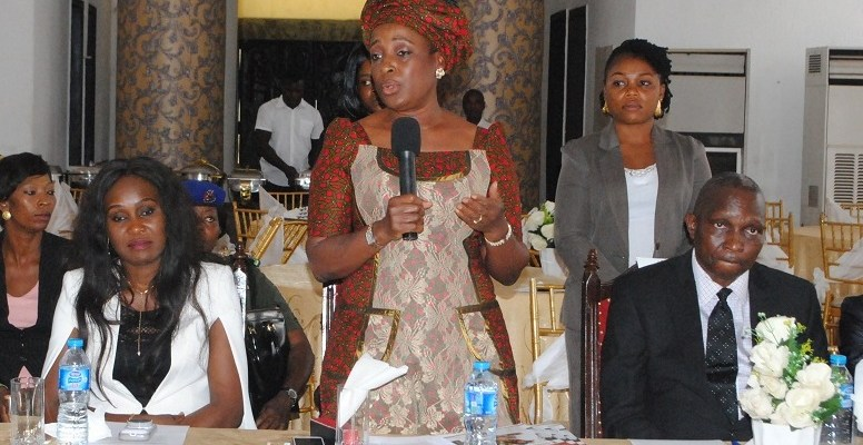 From right: Edo State Commissioner for Local Government and Community Affairs, Hon. Jimoh Ijegbai; Edo State First Lady, Mrs. Betsy Obaseki; and wife of Edo State Deputy Governor, Mrs. Maryann  Shaibu during the stakeholders' meeting on the prevention of neonatal deaths in the state which held in Benin City on Monday, October 23, 2017.